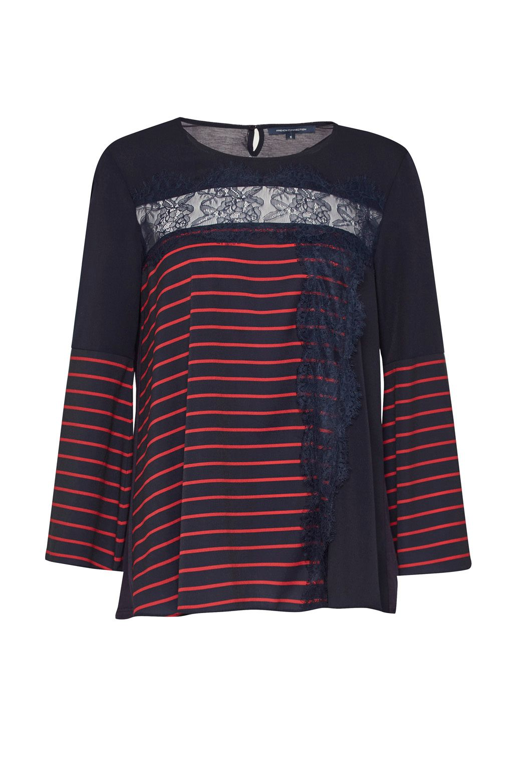 French Connection Isabella Light Striped Crepe Top, Blue