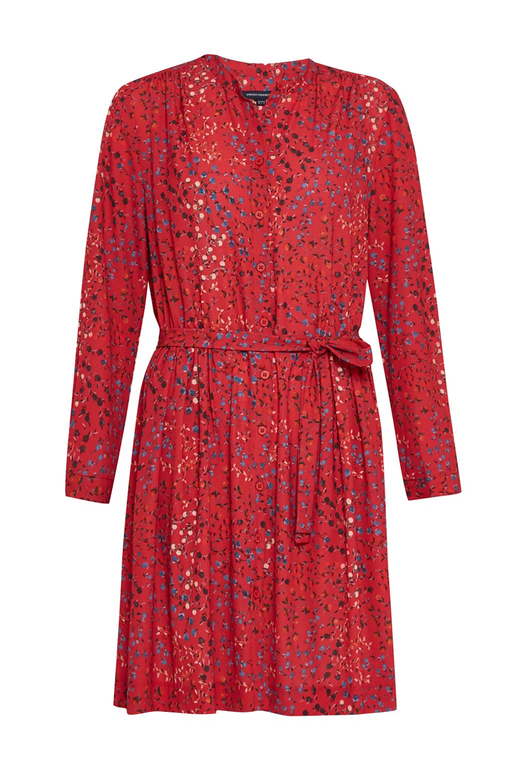 French Connection Frances Drape Tie Waist Dress, Red