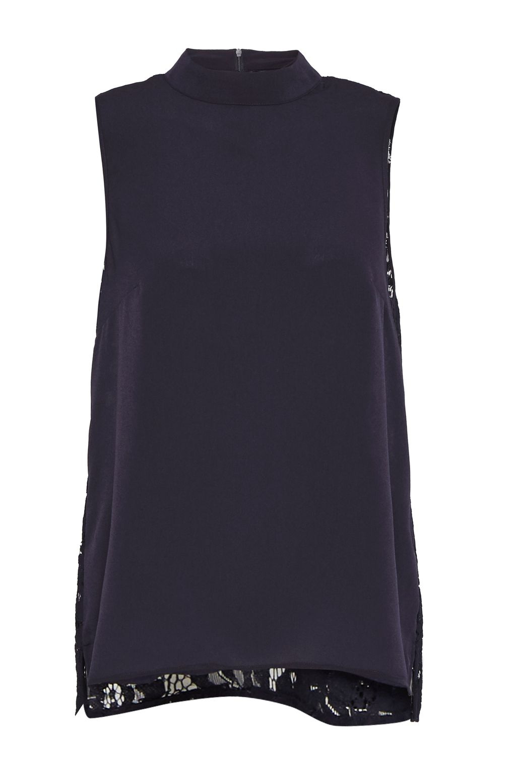 French Connection Classic Crepe and Lace High Neck Top, Blue