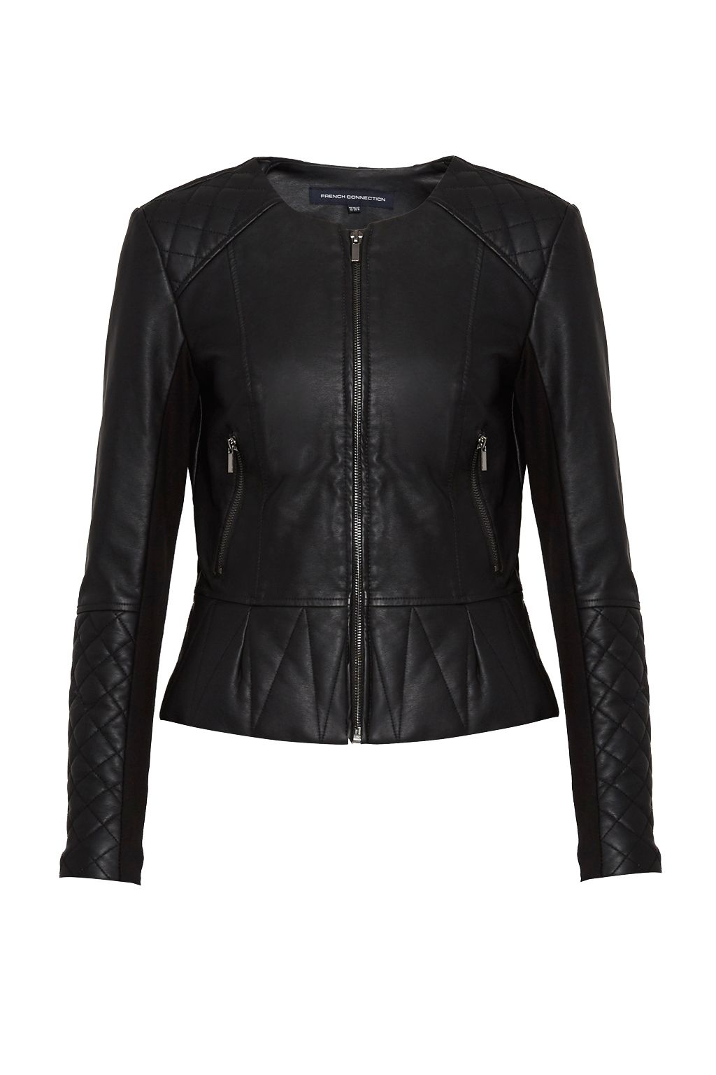 French Connection Stephanie Faux Leather Quilted Jacket, Black
