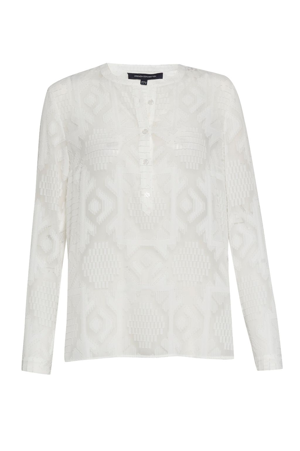 French Connection Edna Fil de Coupe Collarless Shirt, White