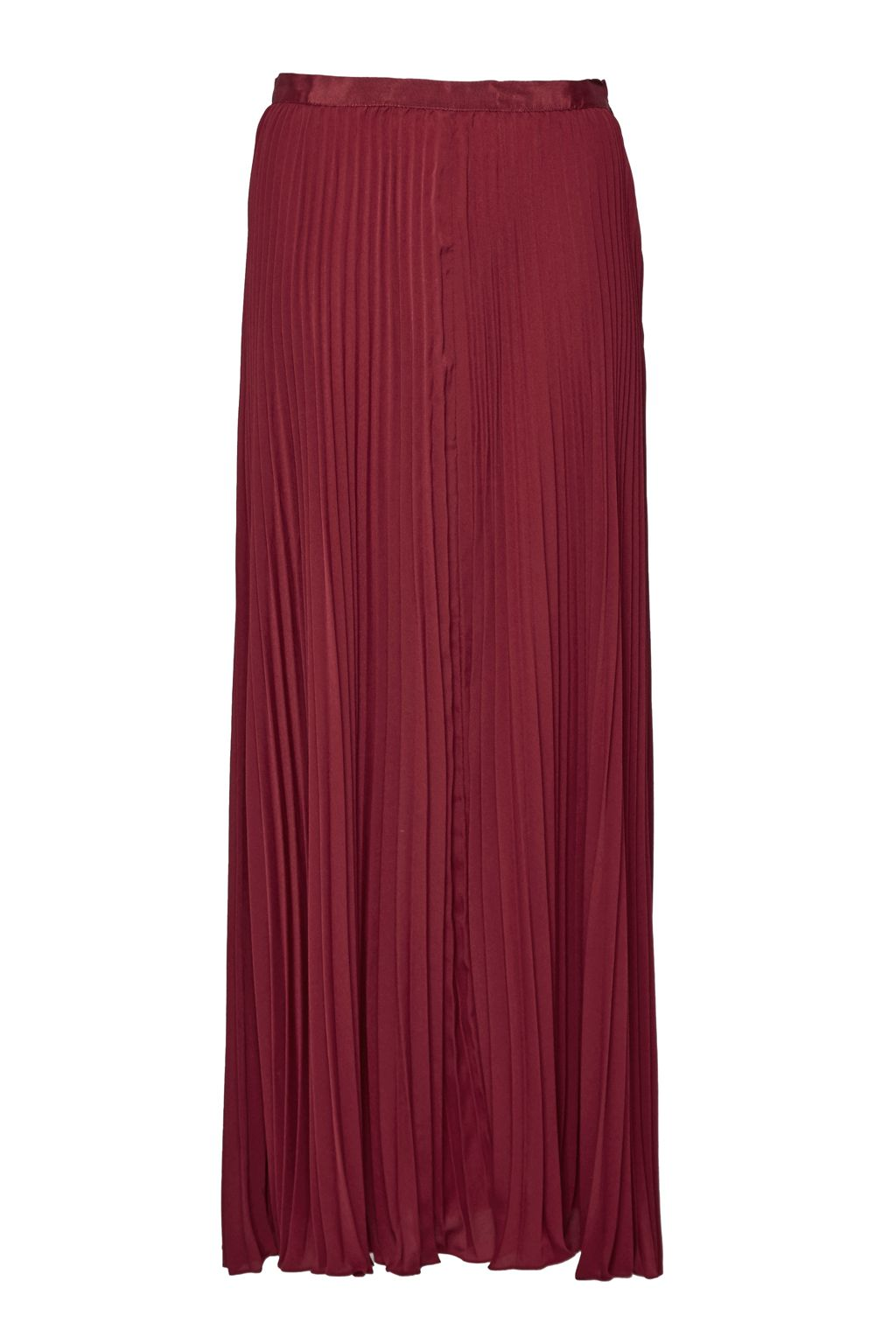 French Connection Classic Crepe Pleated Maxi Skirt, Red