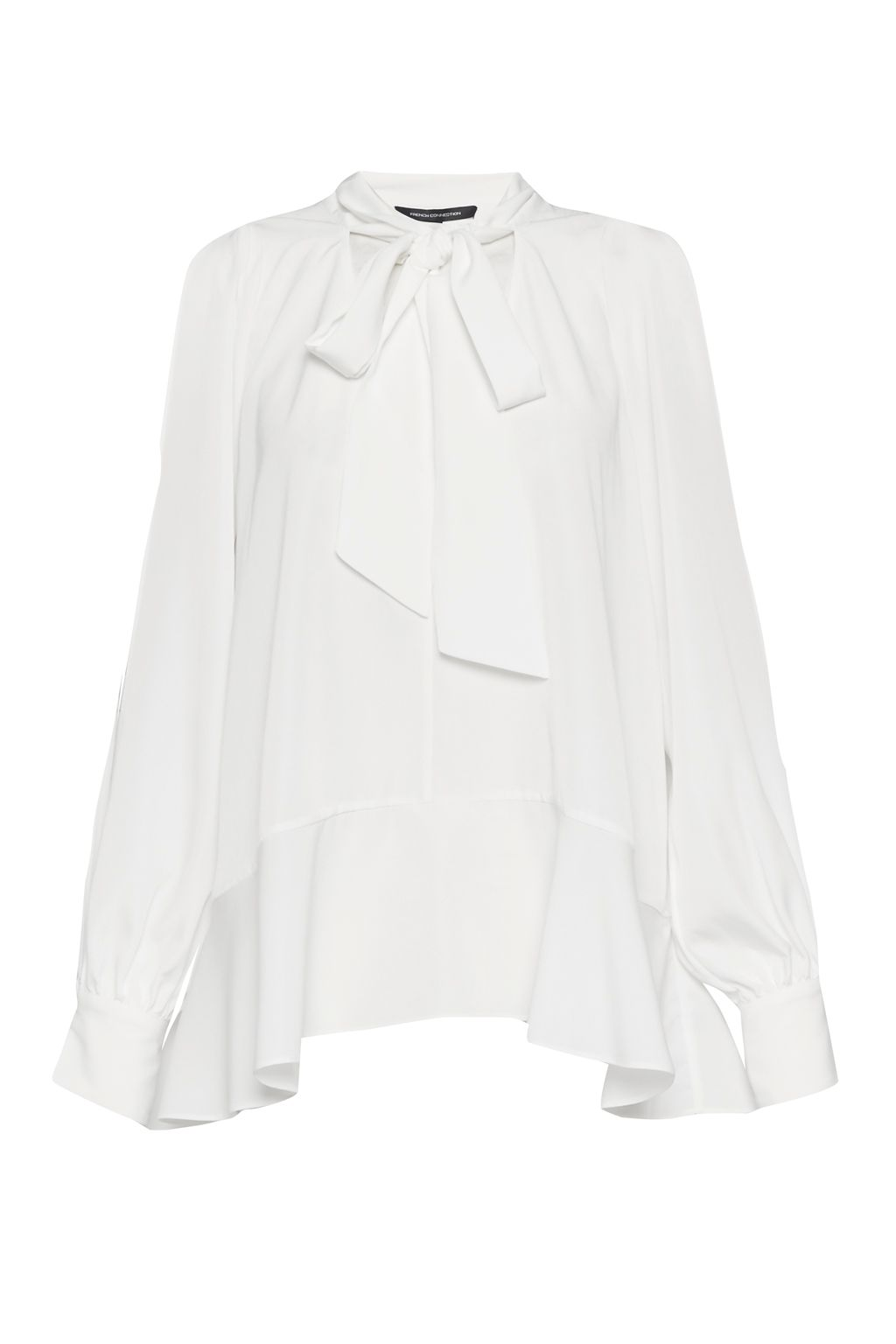 French Connection Classic Crepe Light Tie Neck Top, Winter White