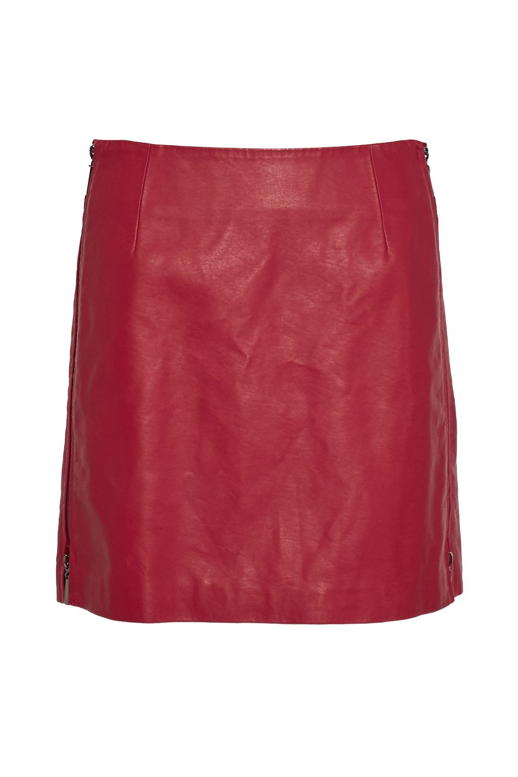 French Connection Canterbury Zipped Faux Leather Skirt, Red