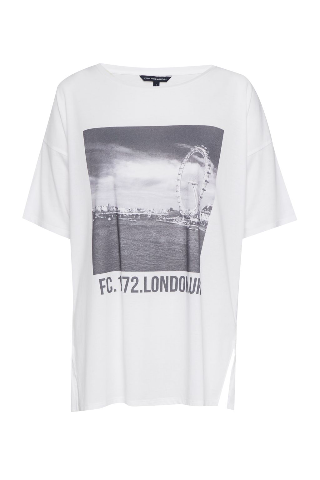 French Connection London Eye Round Neck Jersey T-Shirt, Winter White