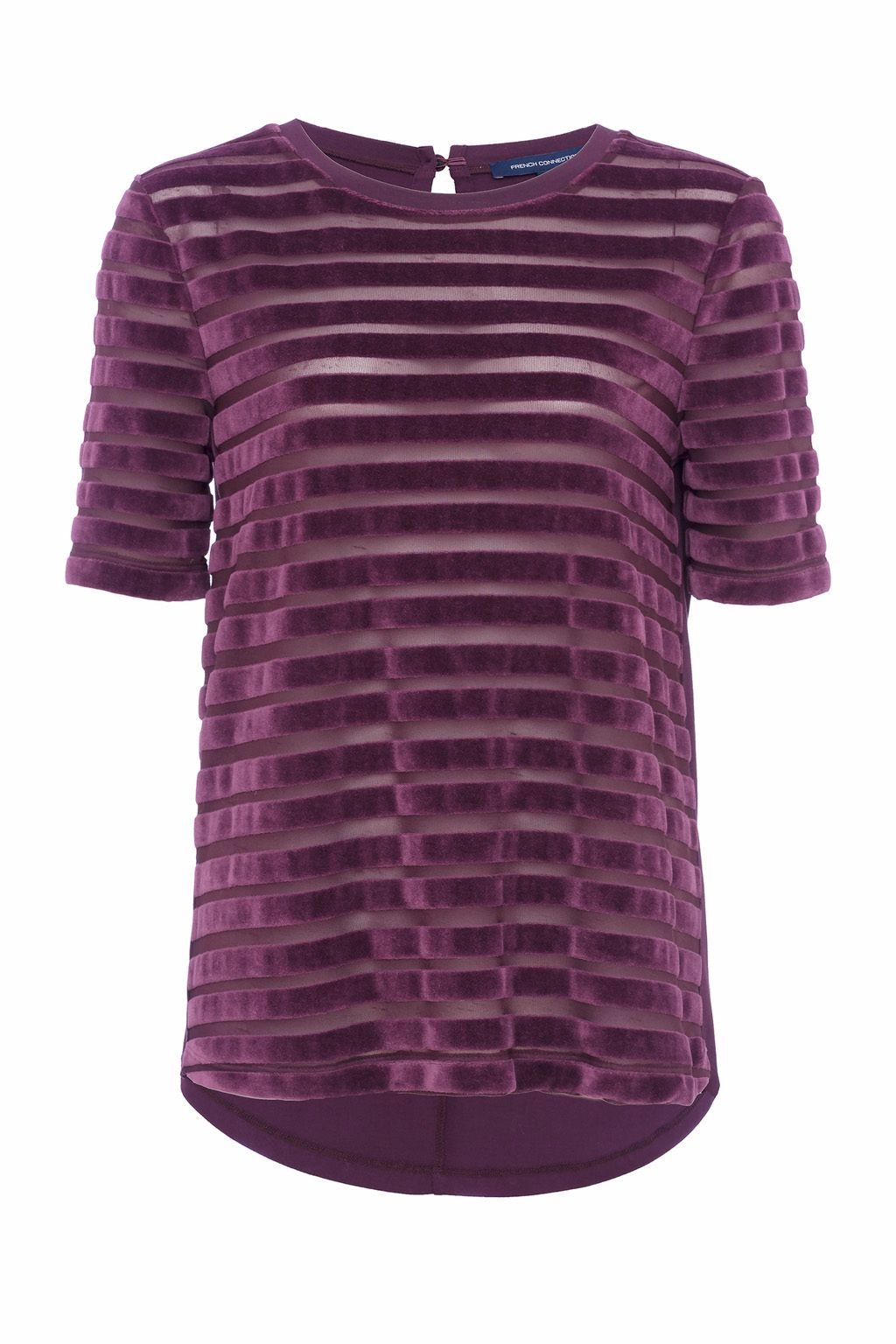 French Connection Bernice Velvet Striped Jersey T-shirt, Dark Purple