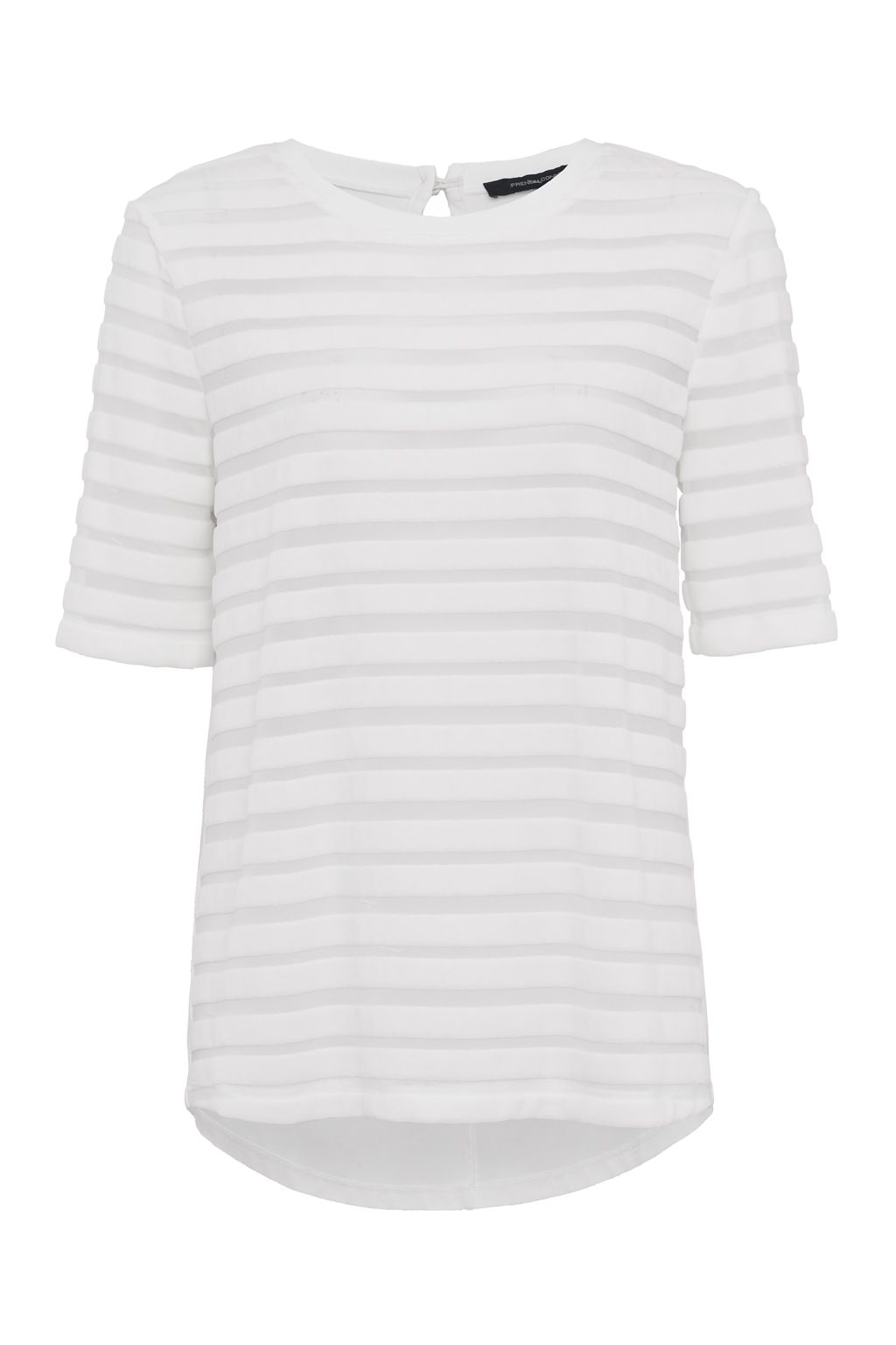 French Connection Bernice Velvet Striped Jersey T-shirt, Winter White