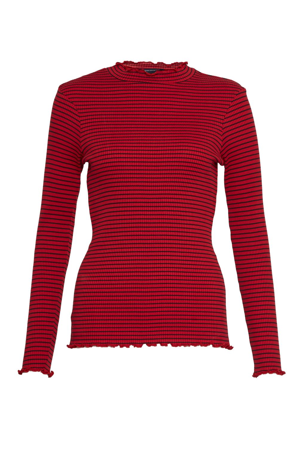 French Connection Tim Tim Ribbed Striped Top, Red