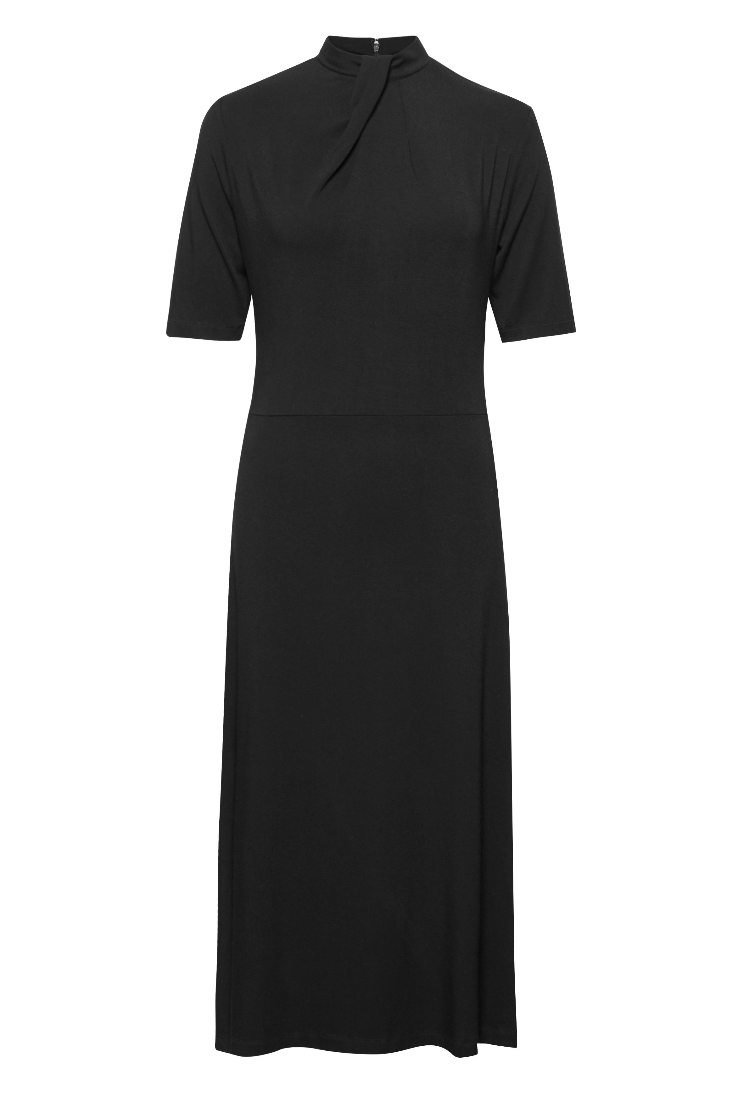Great Plains Lucky Lycra Tuck Neck Midi Dress, Black
