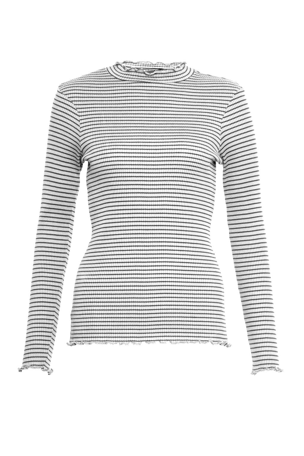 French Connection Tim Tim Ribbed Striped Top, Cream
