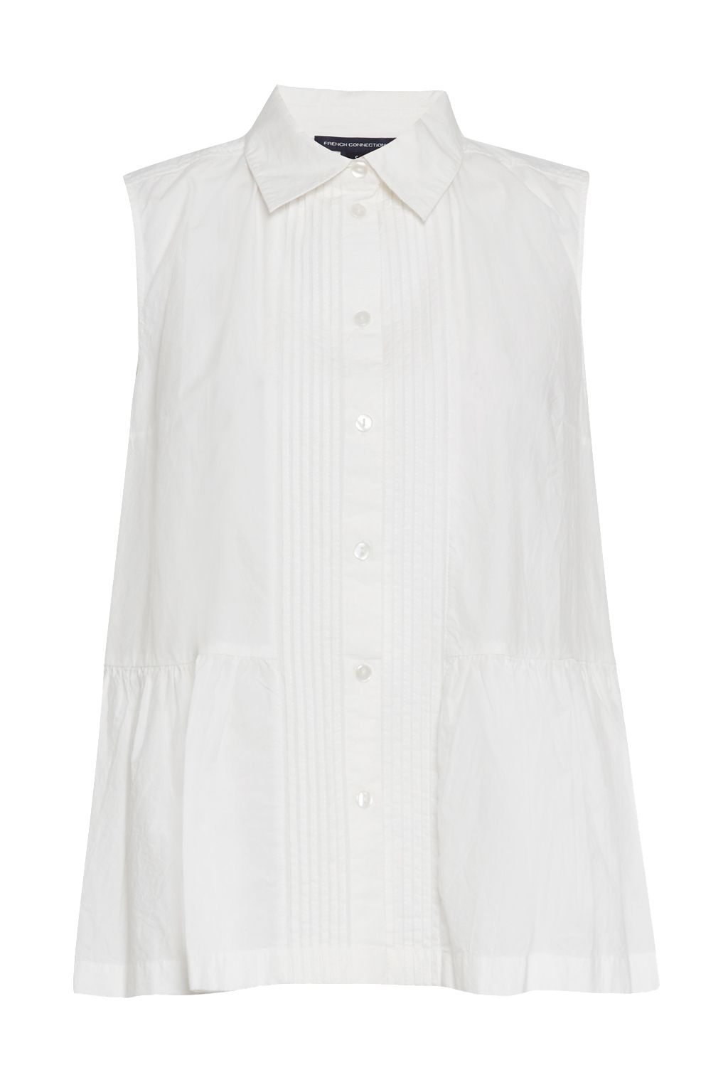 French Connection Neema Cotton Pintuck Shirt, White