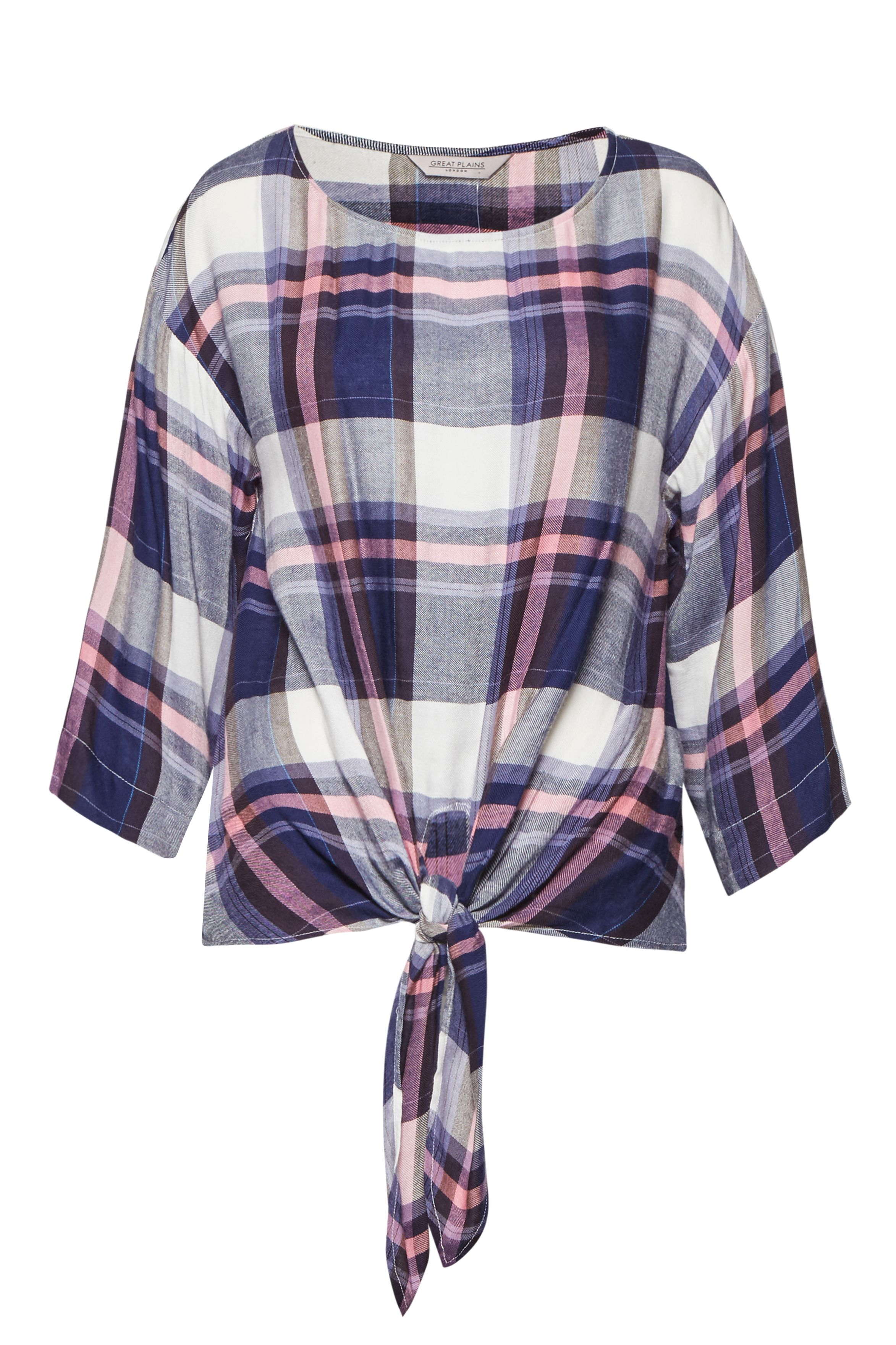 Great Plains Charlotte Check Knot Detail Top, Multi-Coloured