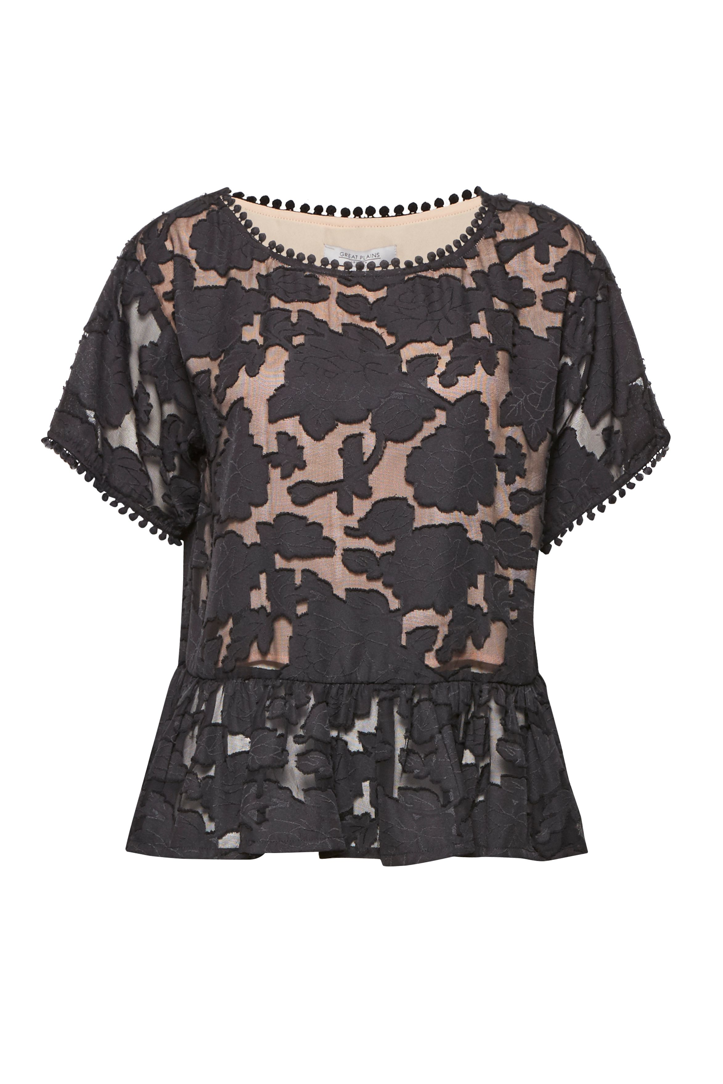 Great Plains Flora Mesh Peplum Blouse, Black Multi