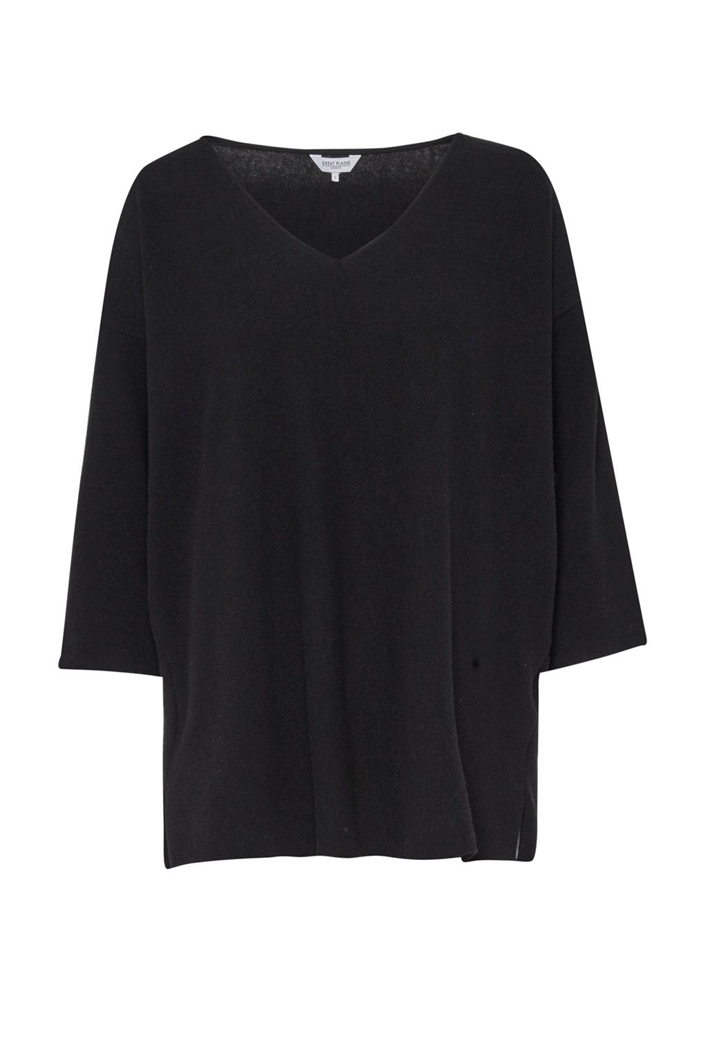 Great Plains Kitten Play V Neck Slouchy Top, Black