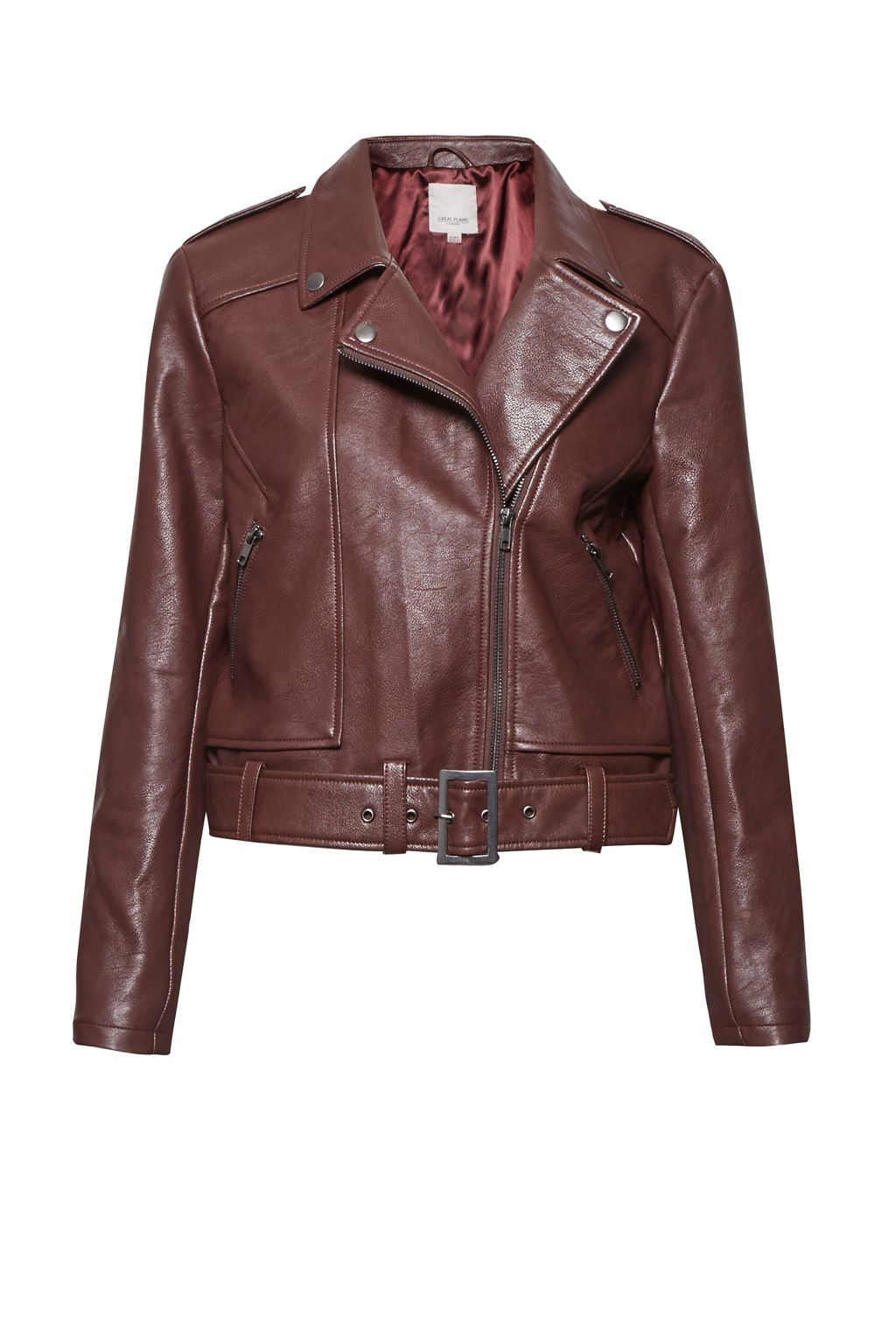 Great Plains Hayden Belted Biker Jacket, Red