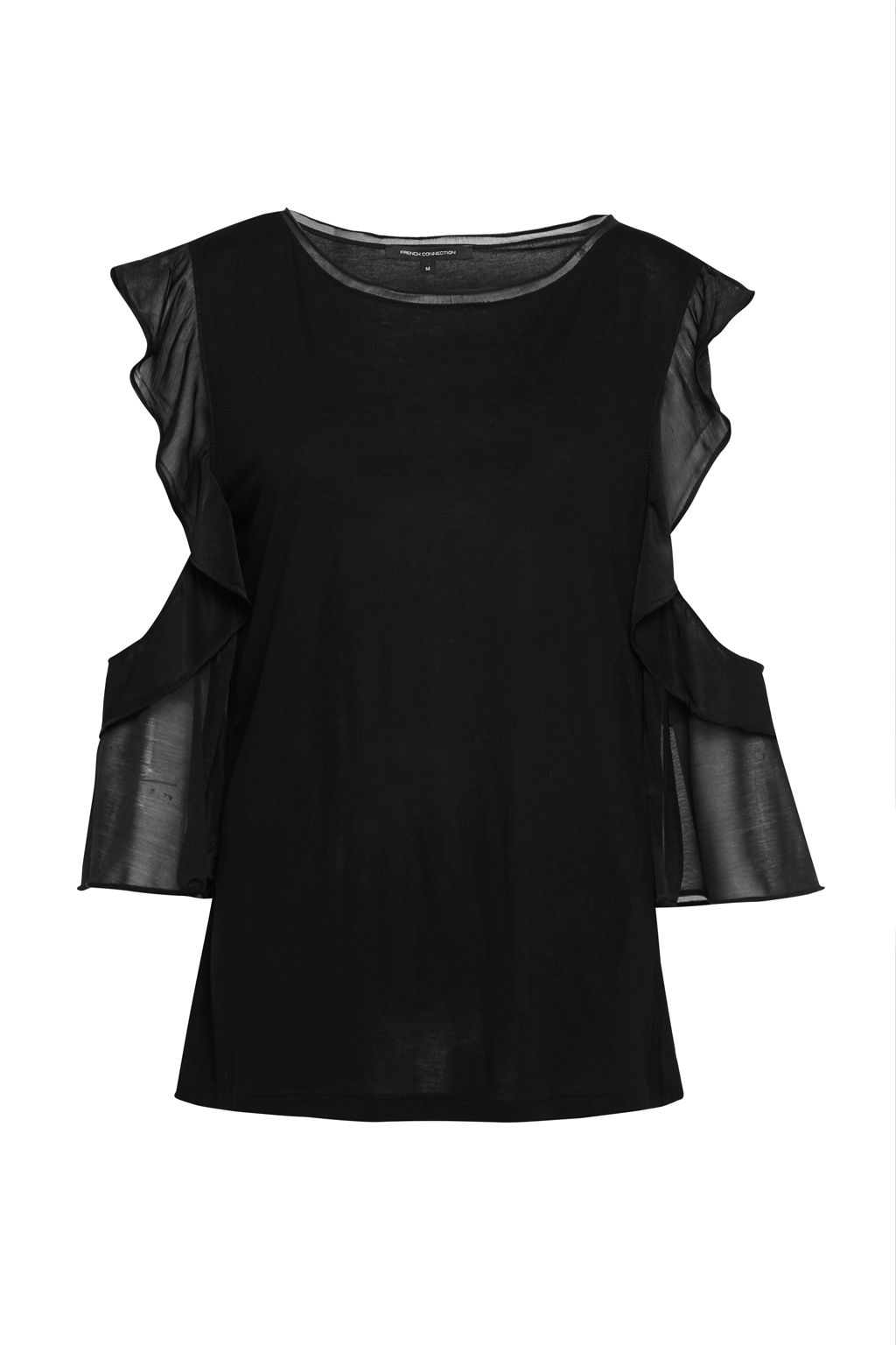 French Connection Ruffle Mix Jersey Top, Black