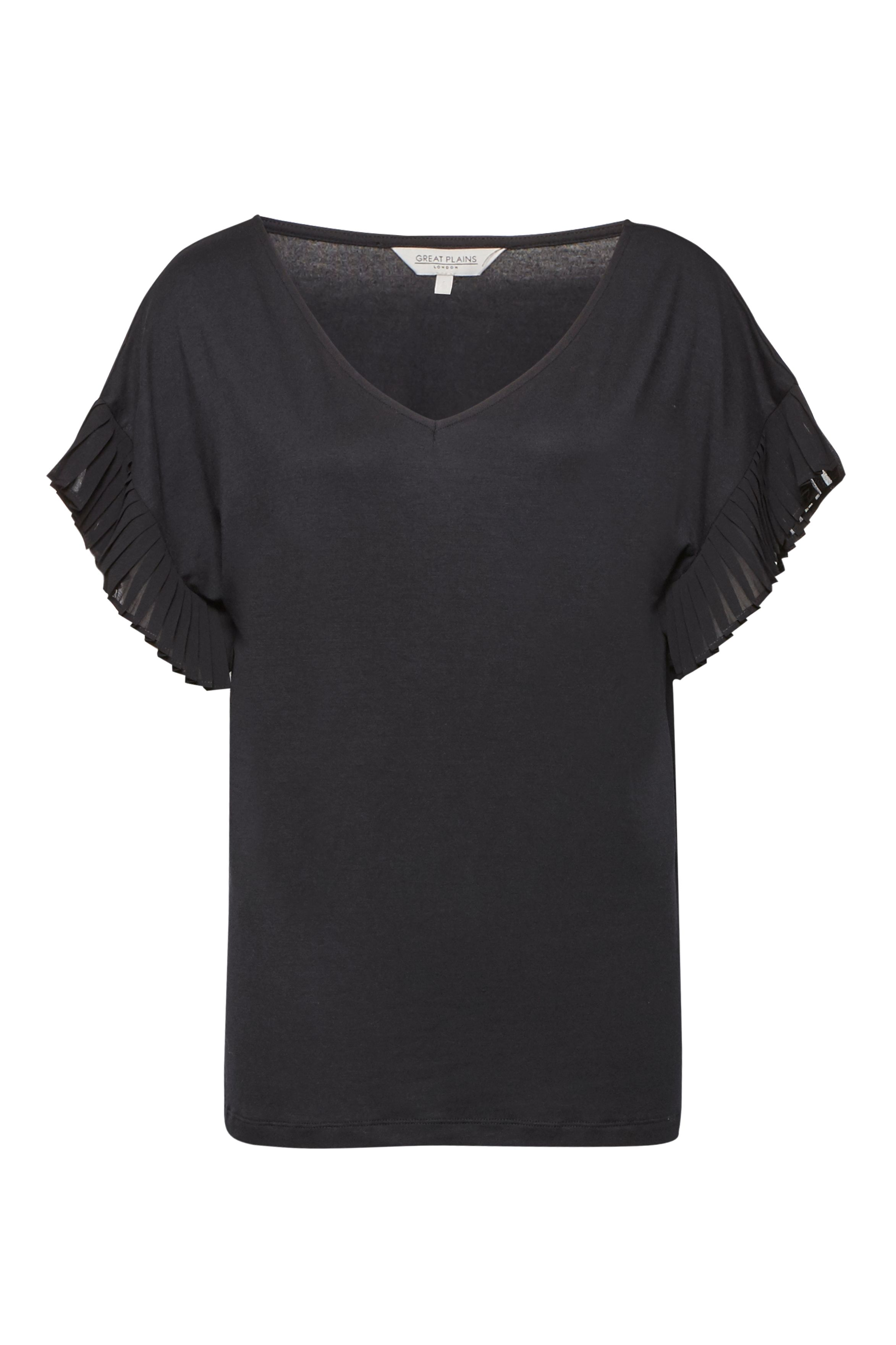 Great Plains Sudbury Stretch Pleated Sleeve T-Shirt, Black