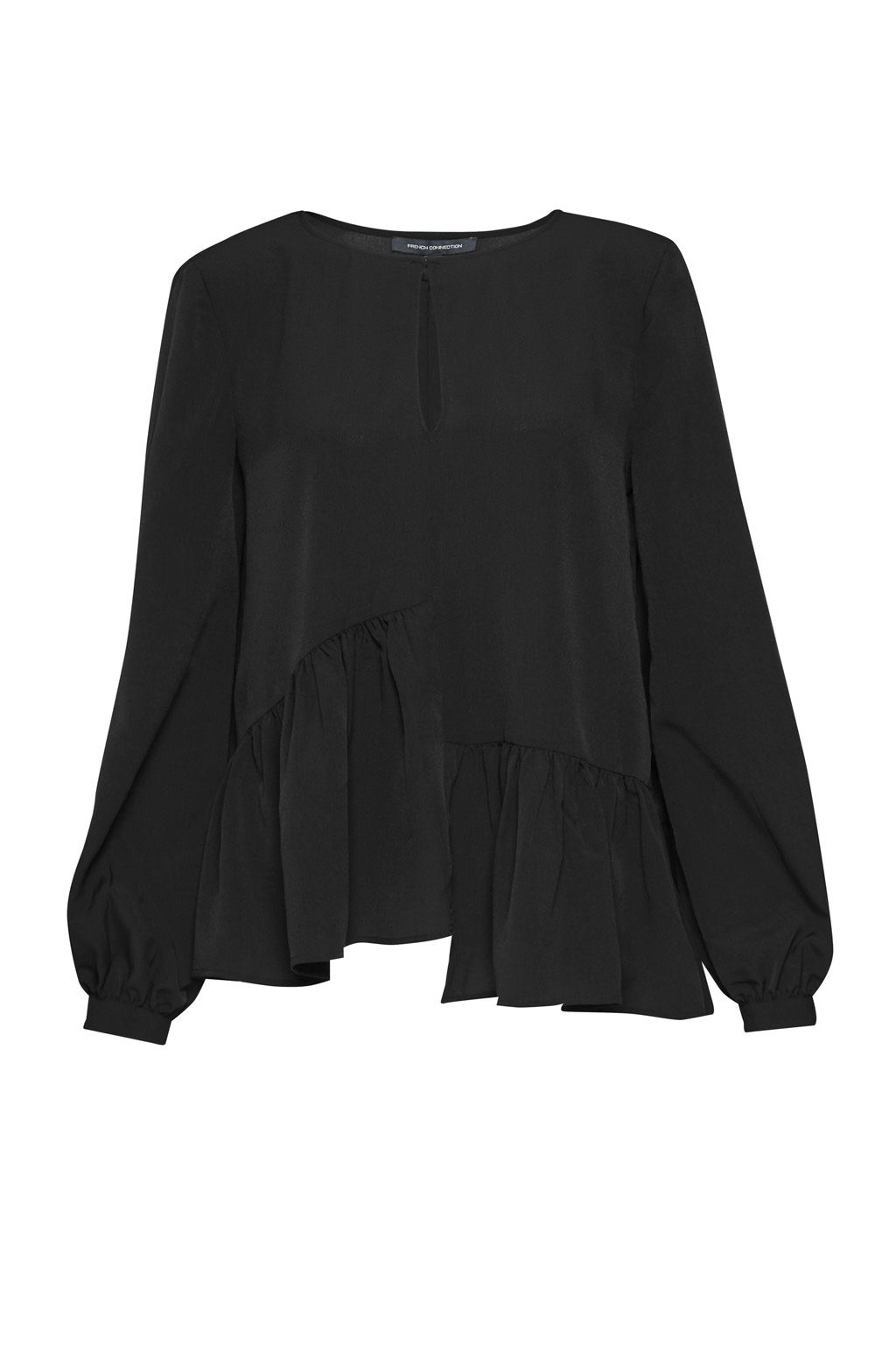French Connection Lisette Lightweight Crepe Top, Black