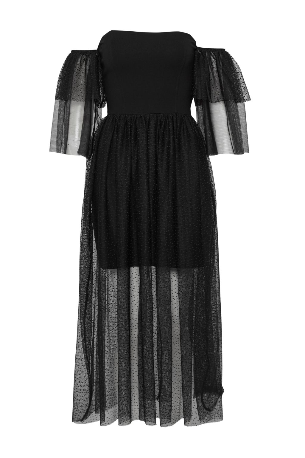 French Connection Valentin Sheer Jersey Off Shoulder Midi Dress, Black