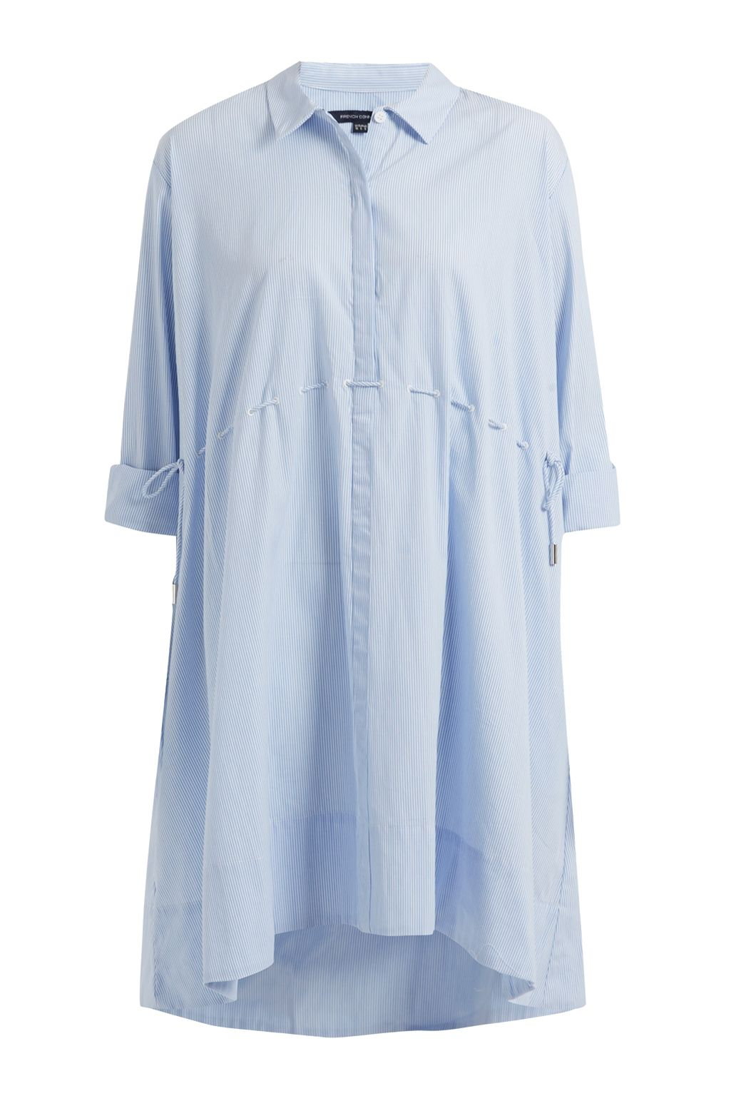 French Connection Smithson Striped Cotton Shirt Dress, Blue