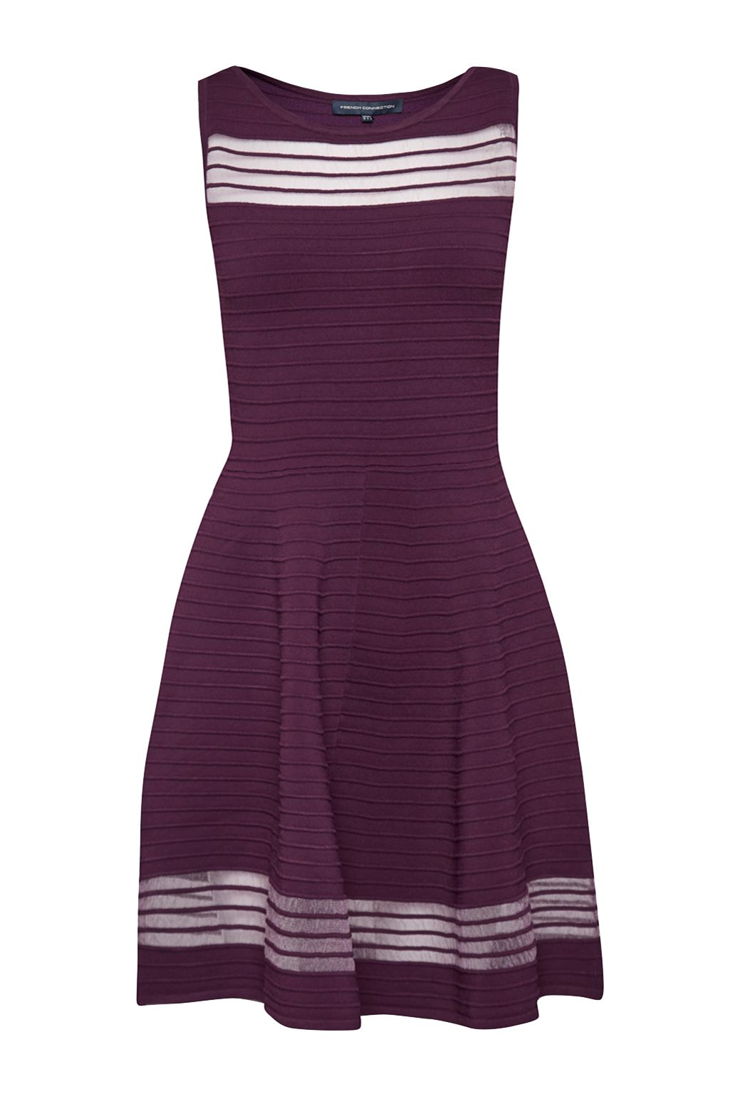 French Connection Tobey Crepe Knit  Skater Dress, Dark Purple