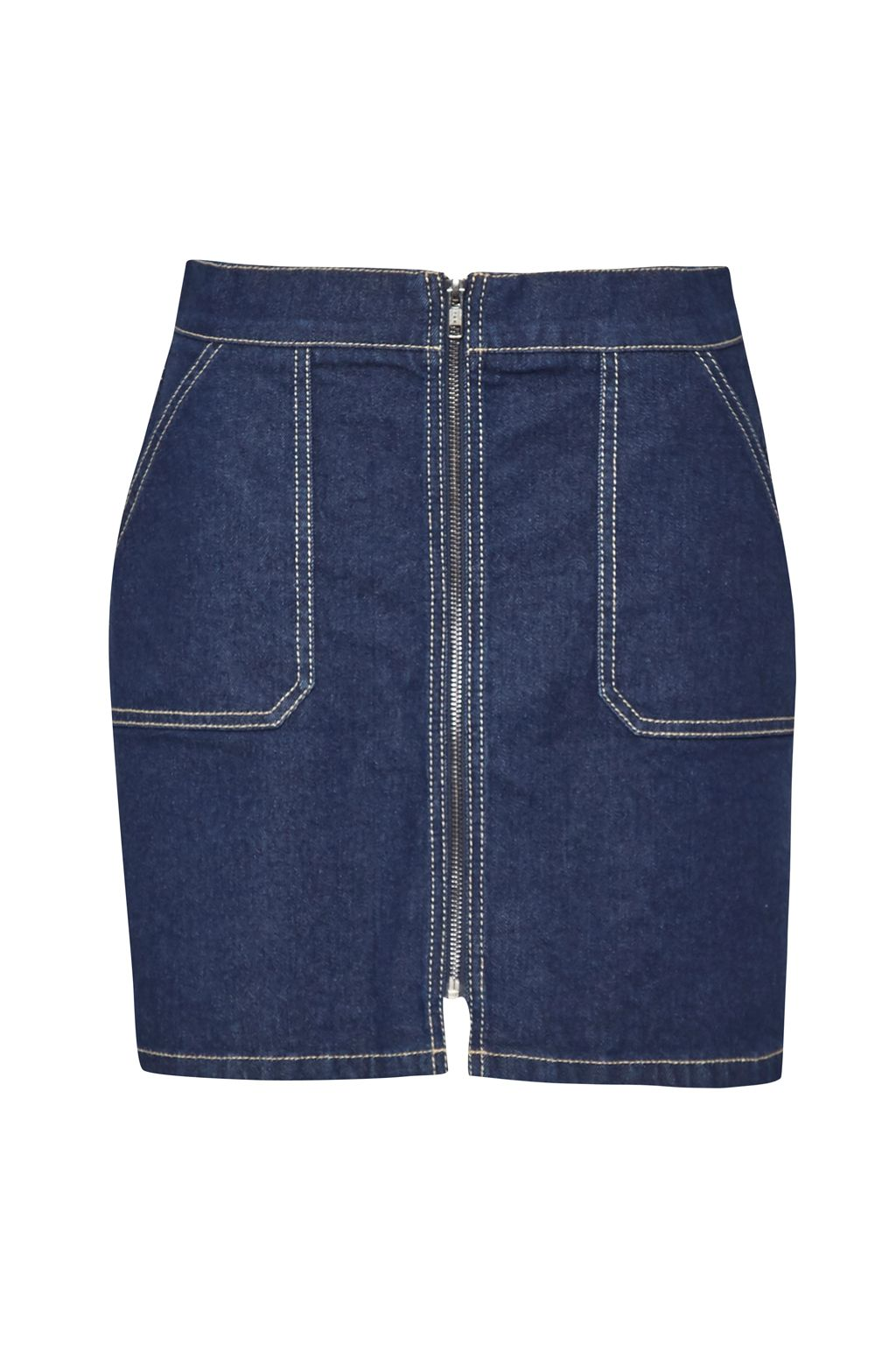 French Connection Cargo Twill A Line Mini Skirt, Indigo