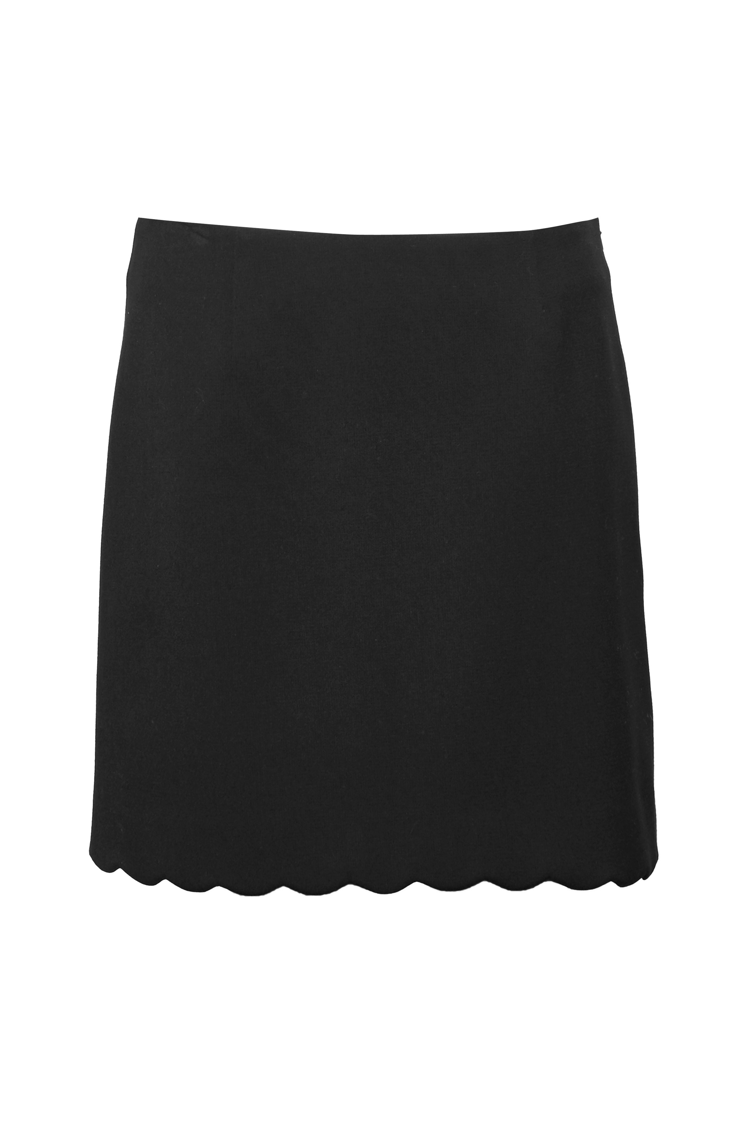 French Connection Sundae Suiting Scalloped Skirt, Black