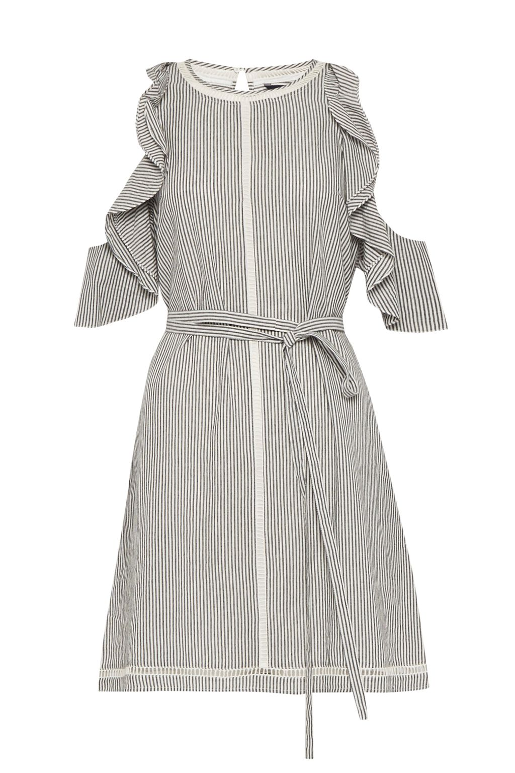 French Connection Clea Cotton Ruffled Cold Shoulder Dress, Grey