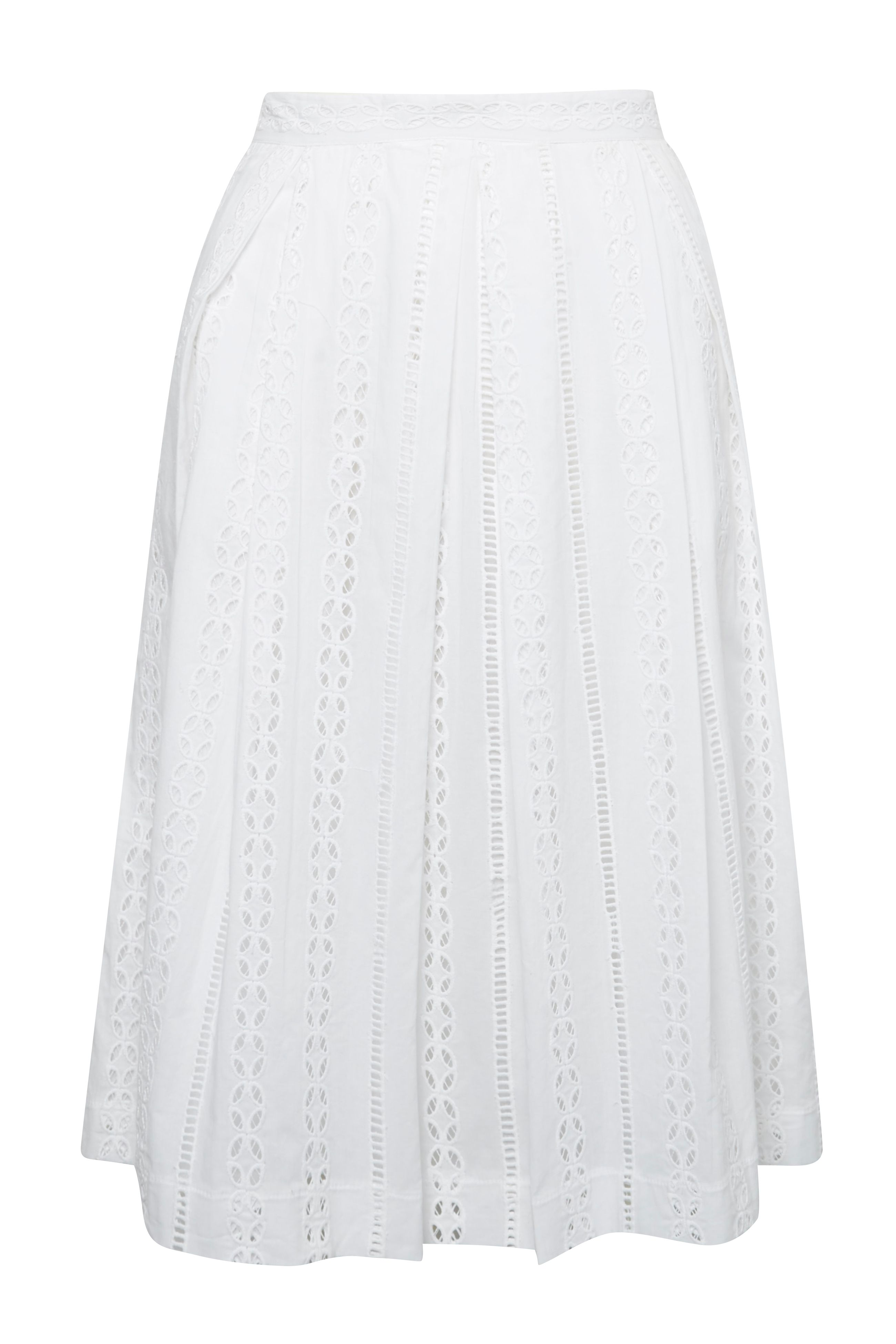 Great Plains Betsy Broidery Flared Skirt, Optic White