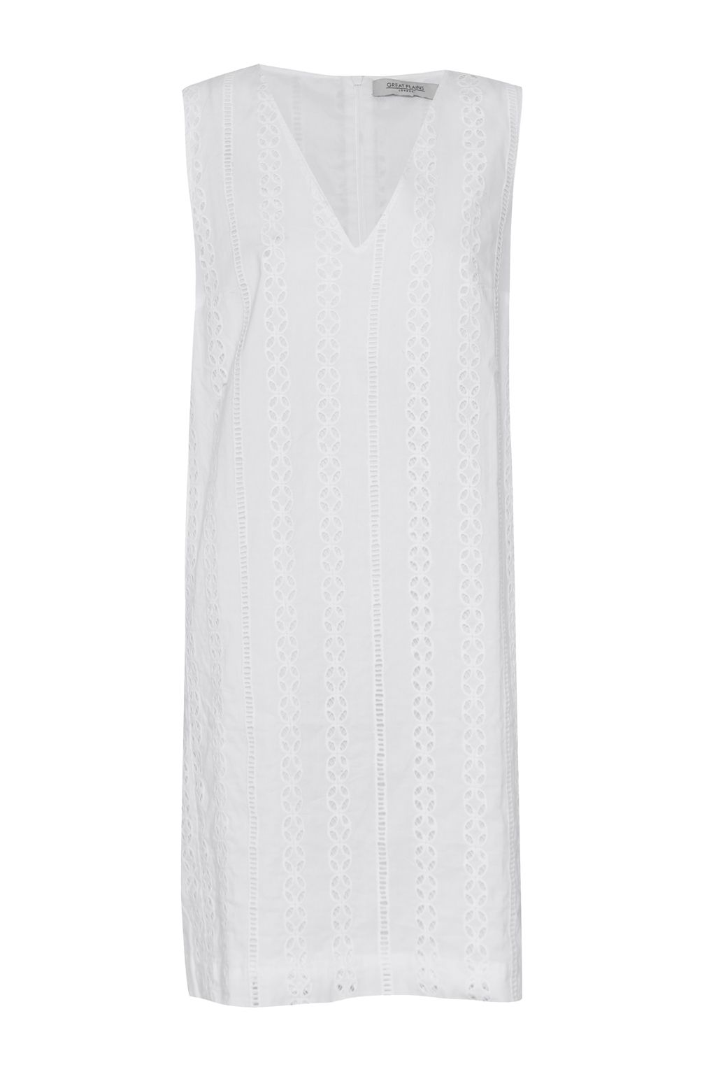 Great Plains Betsy Broidery V Neck Shift Dress, Optic White