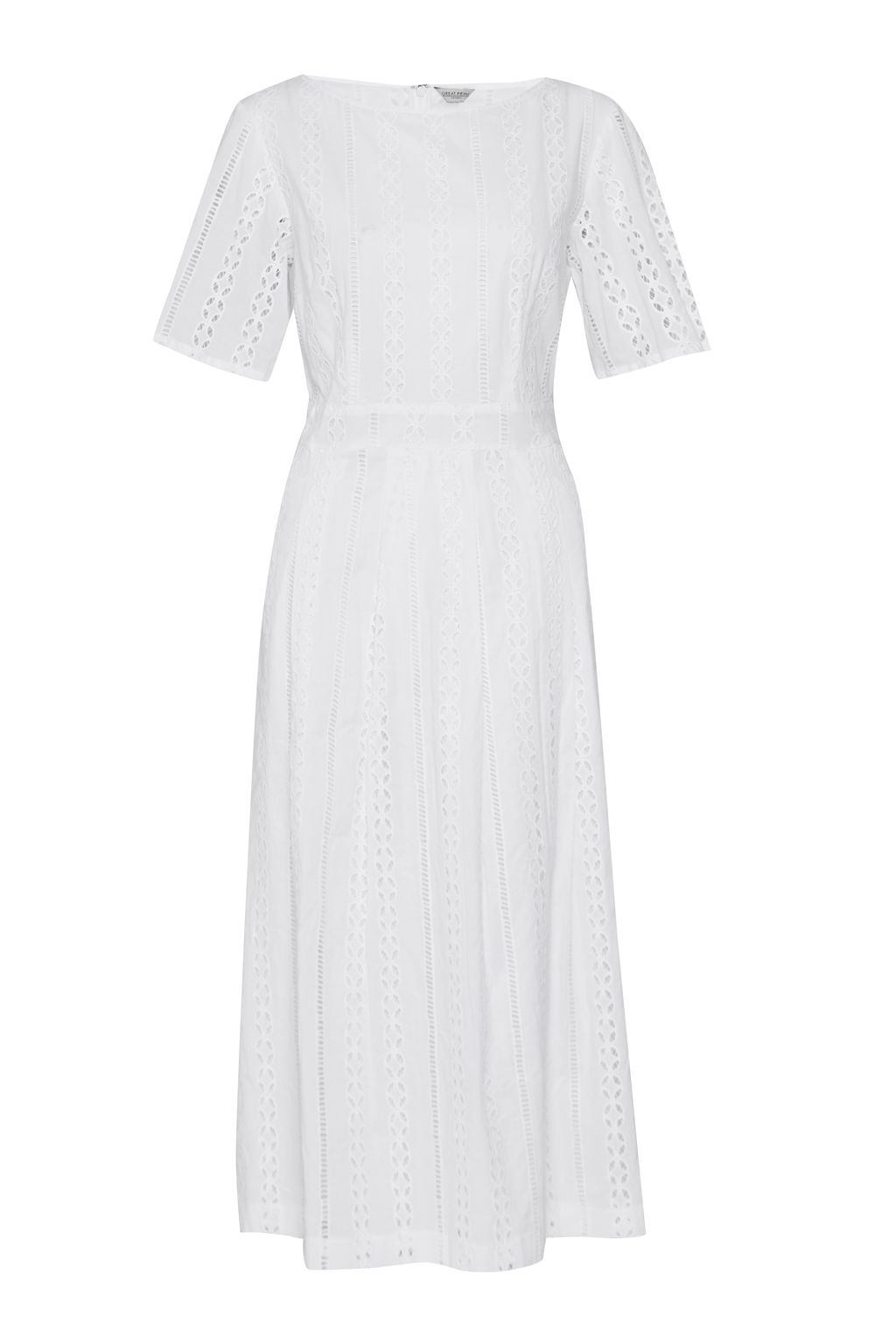 Great Plains Betsy Broidery Midi Dress, Optic White