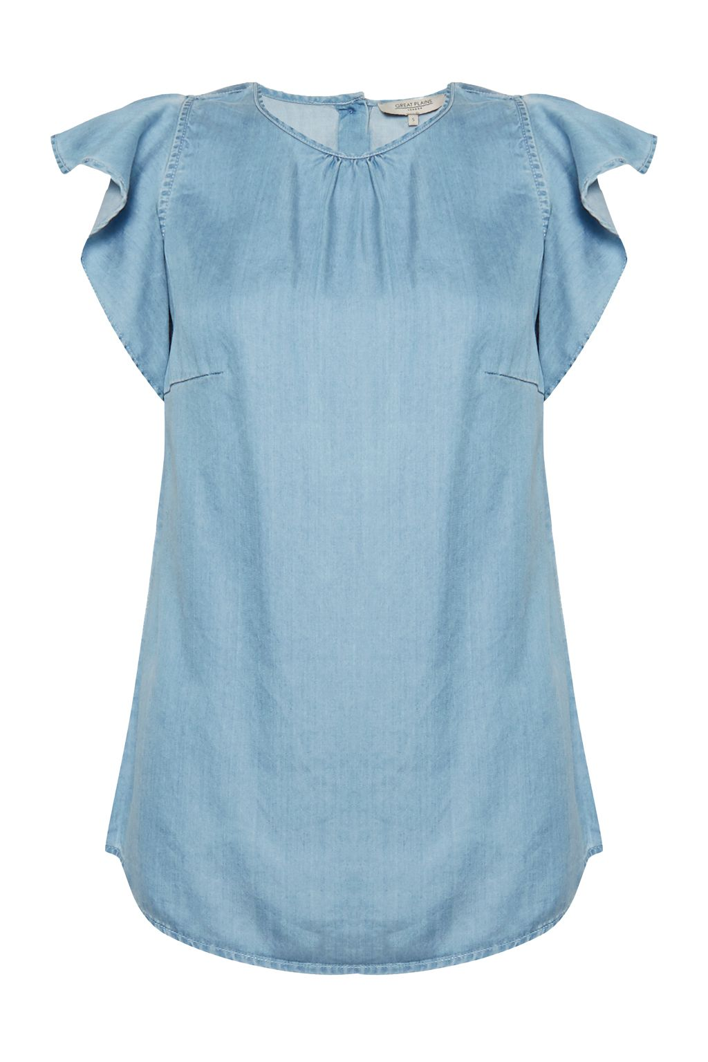 Great Plains Chambray Frill Top, Blue