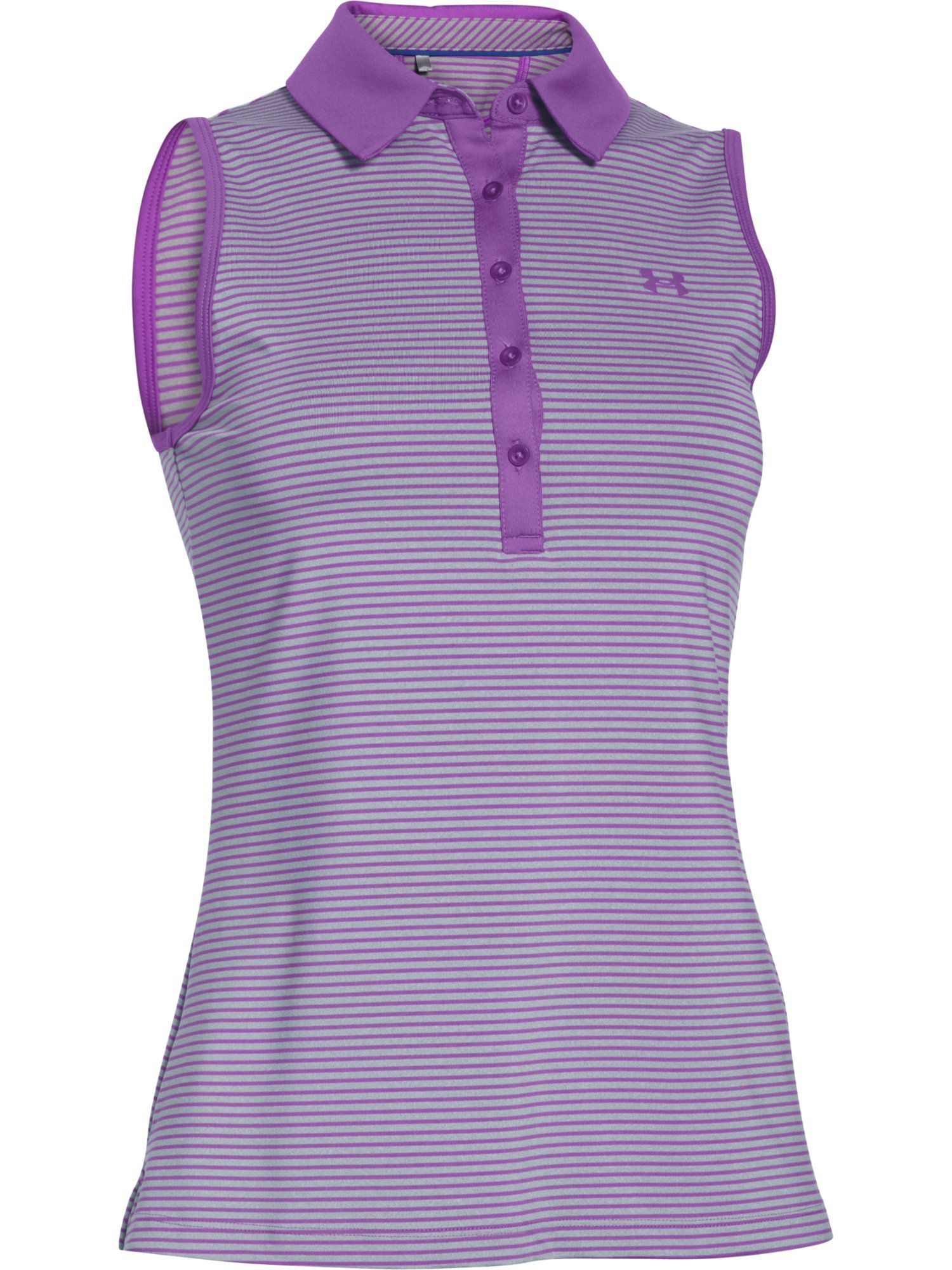 Under Armour Zinger Sleeveless Stripe Polo, Pink