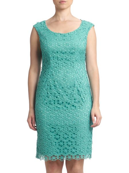 Adrianna Papell Cap sleeve lace shift dress