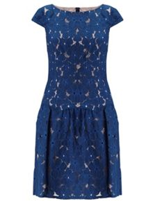 Adrianna Papell Drop Waist Lace Dress