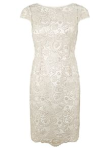 Adrianna Papell Cap sleeve lace cocktail dress
