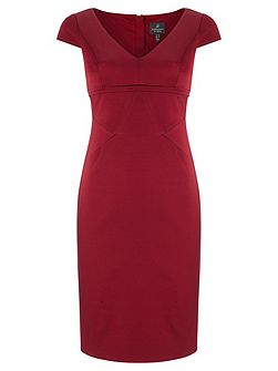 Cap sleeve ribbed tailored dress