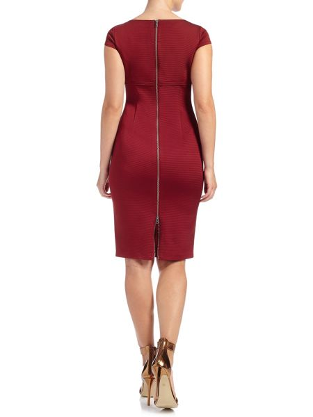 Adrianna Papell Cap sleeve ribbed tailored dress