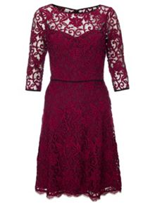 Three-quarter sleeve lace dress