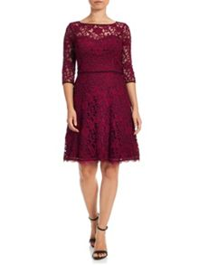 Adrianna Papell Three-quarter sleeve lace dress