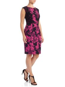 Adrianna Papell Printed dress with lace applique