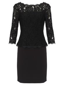 Adrianna Papell 3/4 sleeve lace cocktail dress