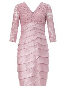 Shimmer tuck lace sheath dress