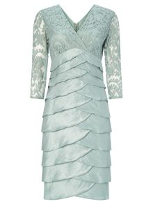 Adrianna Papell Shimmer tuck lace sheath dress