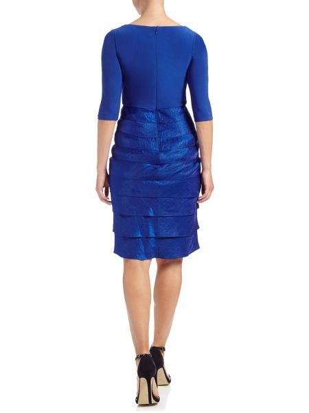 Adrianna Papell 3/4 sleeve shimmer tiered dress