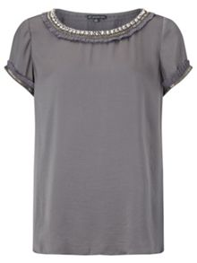 Silky diamante tee blouse
