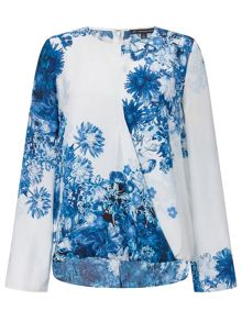 Adrianna Papell Floral crossover blouse