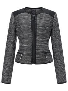 Adrianna Papell Tweed jacket with faux leather