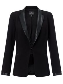 Adrianna Papell Faux leather tailored jacket