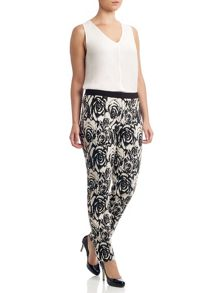 Adrianna Papell Floral jacquard trousers